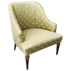 Midcentury Armchair in Damask Fabric Florentine Lily Green Color, Italy, 1960s