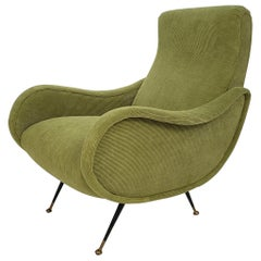 Midcentury Armchair in Green Cord from the 1950s in the Style of Marco Zanuso