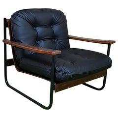 Armchair Mid Century Metal Curved Wood  Black Eco Leather Italian Design 1960s