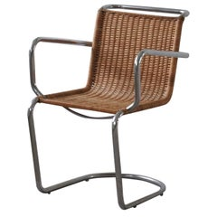 Mid Century Armchair in Wicker and Steel, Bauhaus Style, 1940s