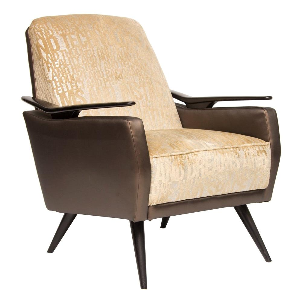 """Mid Century Armchair Newly Upholstered in """"Technology"""" Fabric, Italian, c.1960"""