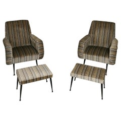 Mid Century Armchairs by Gigi Radice Footrests Smooth Velvet Metal Brass, 1950s