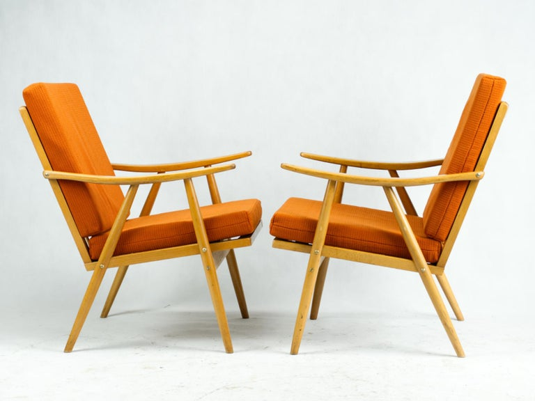 Upholstery Mid Century Armchairs by TON Czechoslovakia, 1960s