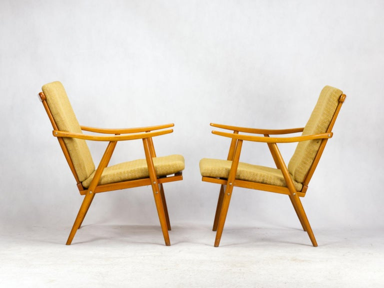 Wood Mid Century Armchairs by TON Czechoslovakia, 1960s For Sale