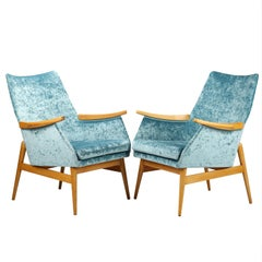 Light Blue Mid Century Armchairs Fully Restored, circa 1960