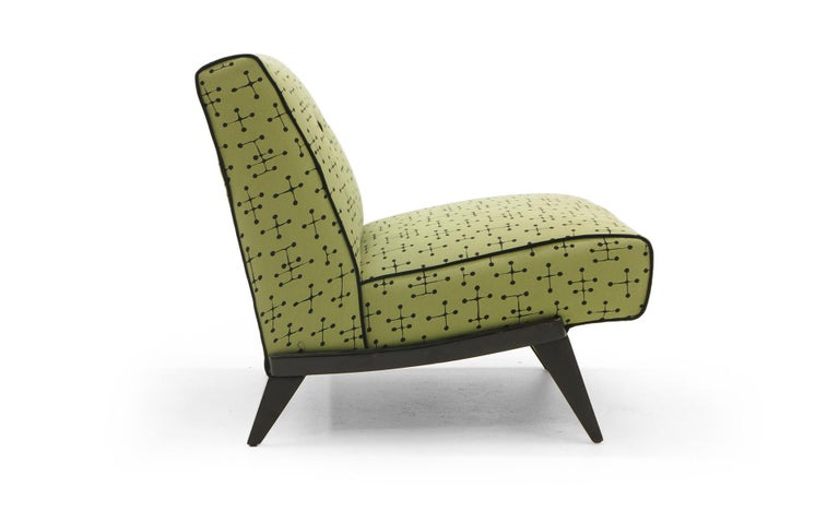 American Midcentury Armless Lounge / Slipper Chair Newer Green Eames Fabric by Maharam For Sale