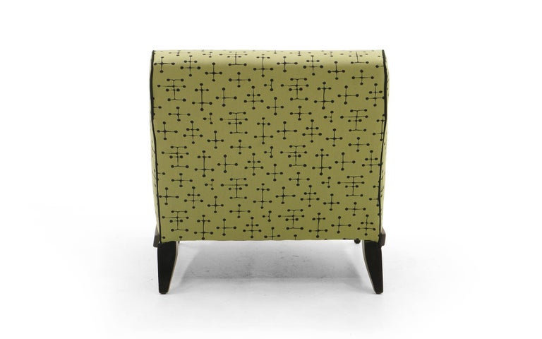 Lacquered Midcentury Armless Lounge / Slipper Chair Newer Green Eames Fabric by Maharam For Sale