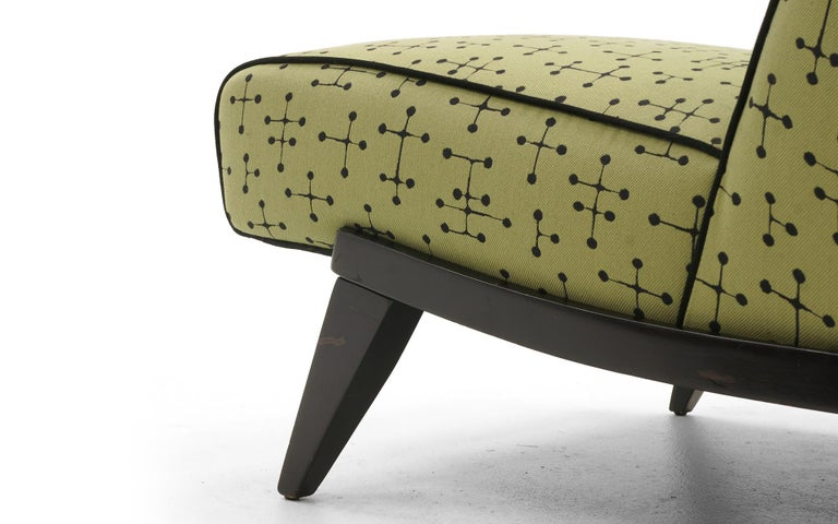 Midcentury Armless Lounge / Slipper Chair Newer Green Eames Fabric by Maharam In Good Condition For Sale In Kansas City, MO
