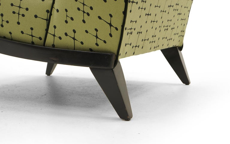 20th Century Midcentury Armless Lounge / Slipper Chair Newer Green Eames Fabric by Maharam For Sale