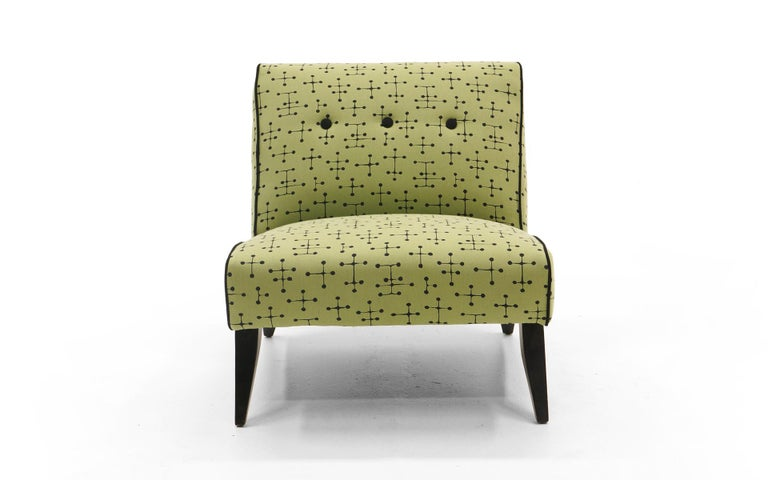 Upholstery Midcentury Armless Lounge / Slipper Chair Newer Green Eames Fabric by Maharam For Sale