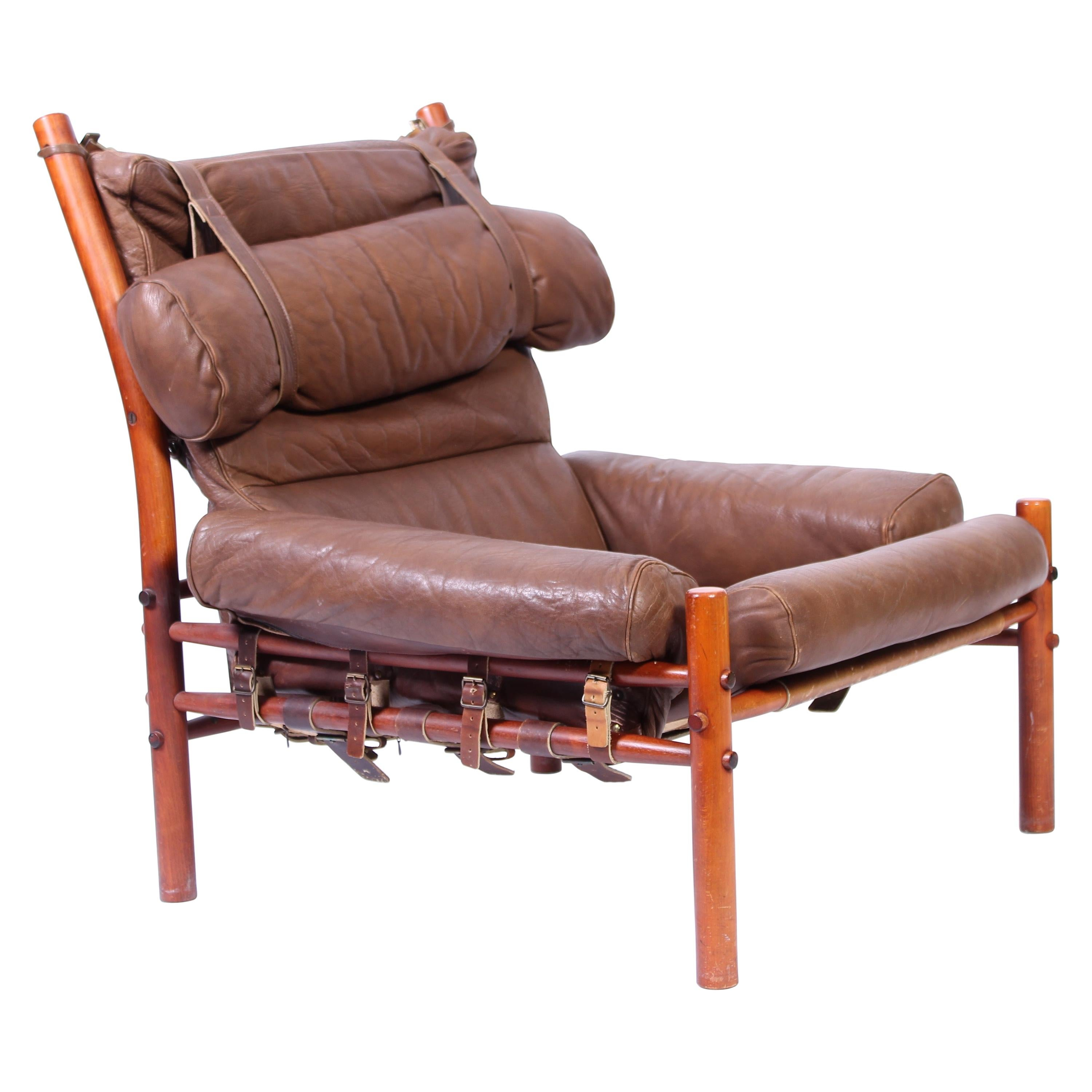 """Midcentury Arne Norell """"Inca"""" Leather Lounge Chair, 1960s"""