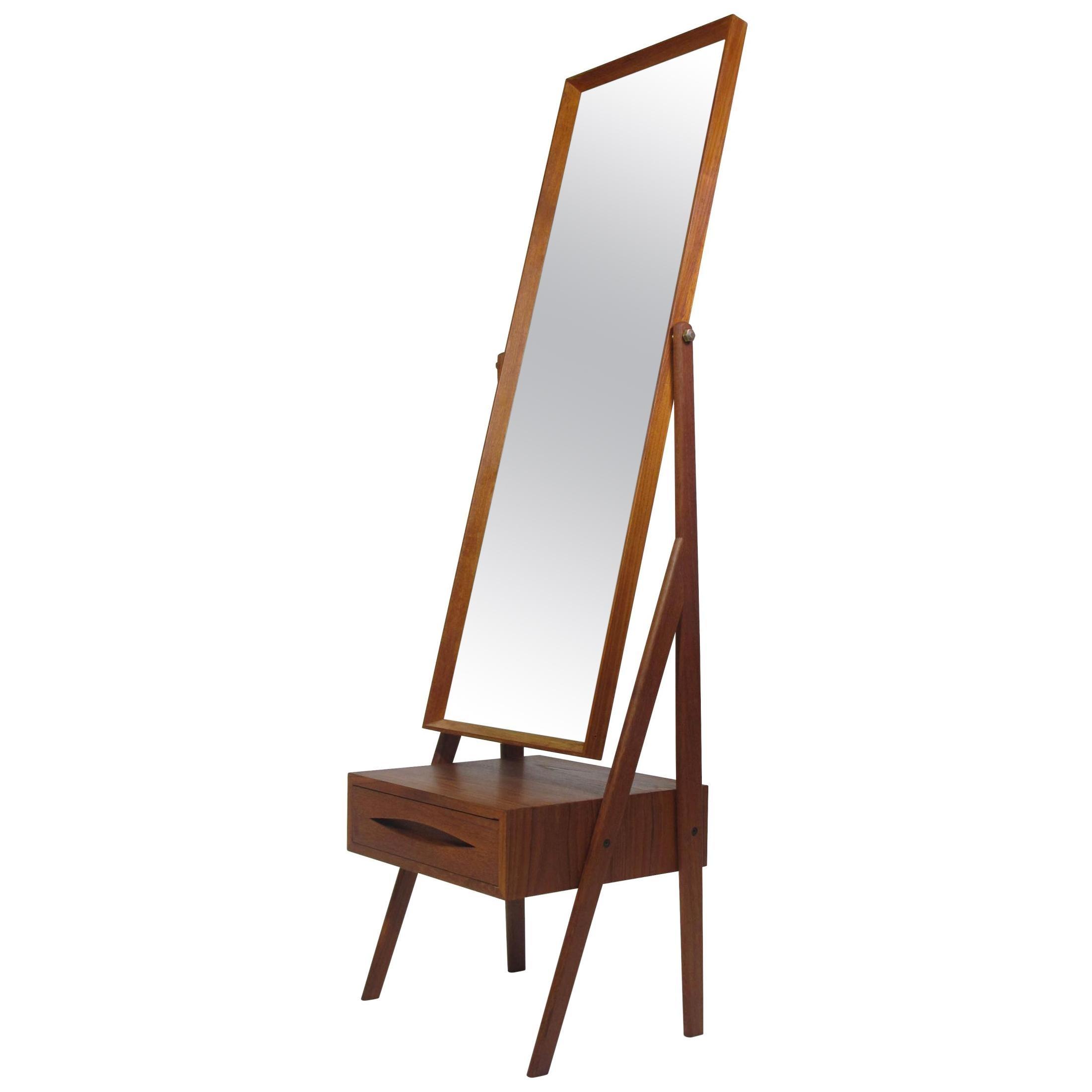 Mid Century Arne Vodder Full Length Pivoting Teak Mirror