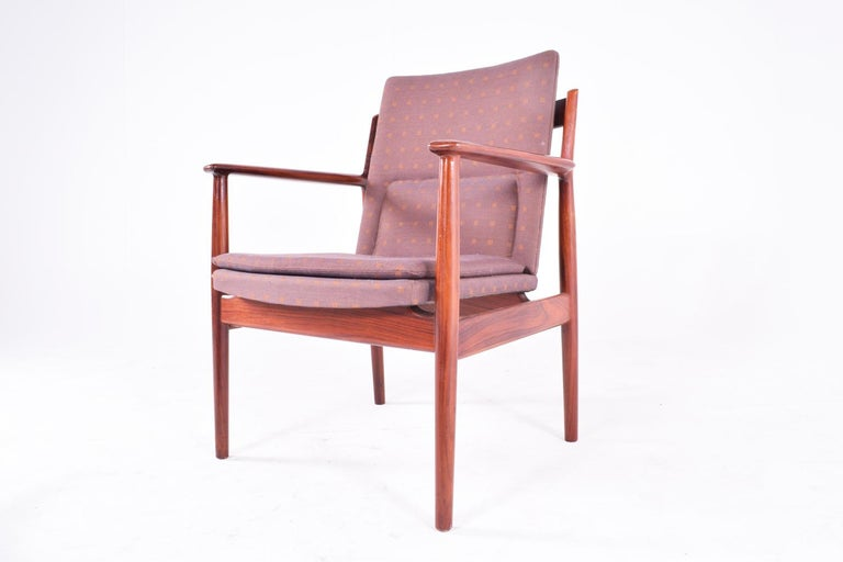 Danish Midcentury Arne Vodder Rosewood and Fabric Desk Chair for Sibast For Sale