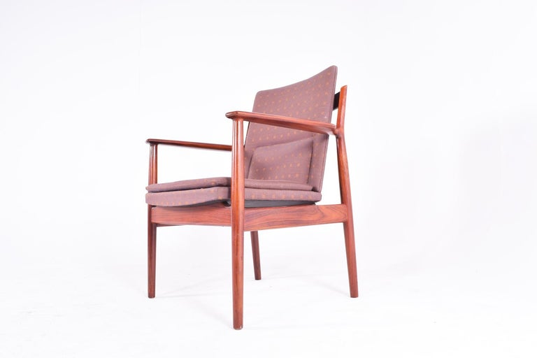 Woodwork Midcentury Arne Vodder Rosewood and Fabric Desk Chair for Sibast For Sale