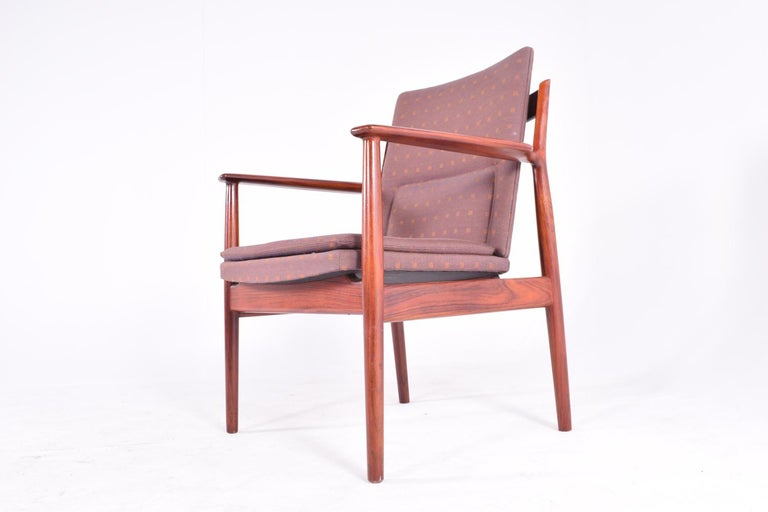 Midcentury Arne Vodder Rosewood and Fabric Desk Chair for Sibast In Good Condition For Sale In Lisboa, Lisboa