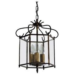Mid-Century Art Deco Brass and Clear Glass Three-Light Lantern