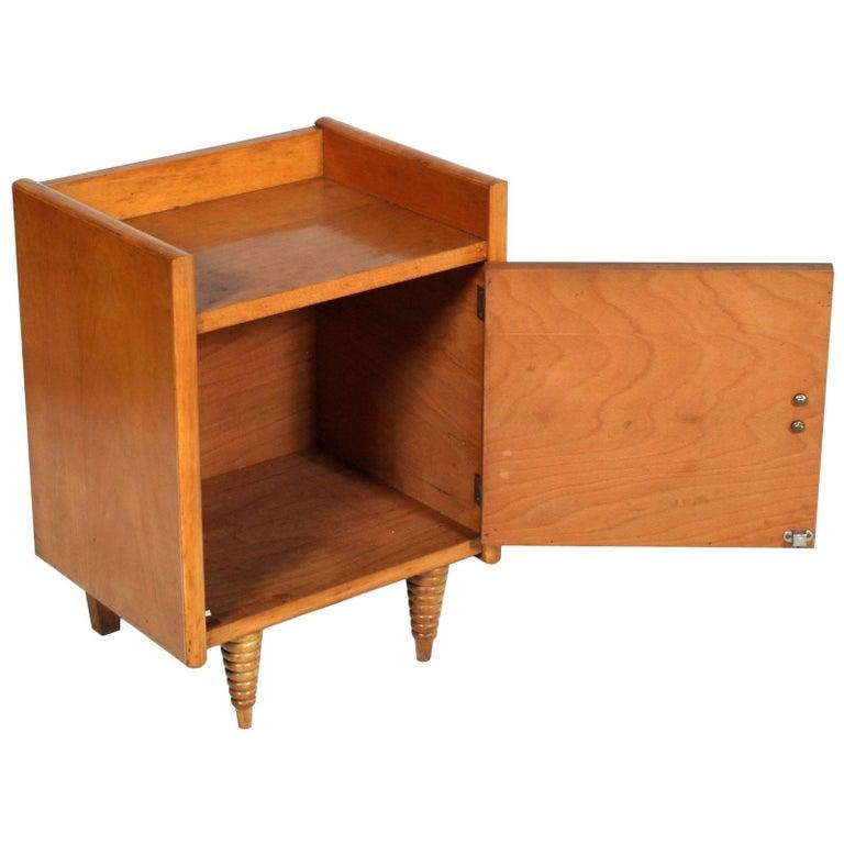 Mid-Century Modern Midcentury Art Deco Nightstand, Gio Ponti Attributed, Blond Walnut Wax Polished For Sale