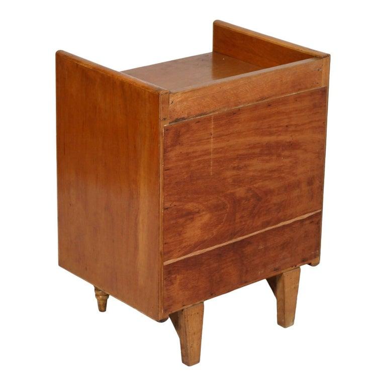 Italian Midcentury Art Deco Nightstand, Gio Ponti Attributed, Blond Walnut Wax Polished For Sale