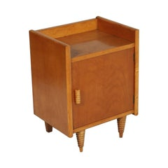 Midcentury Art Deco Nightstand, Gio Ponti Attributed, Blond Walnut Wax Polished