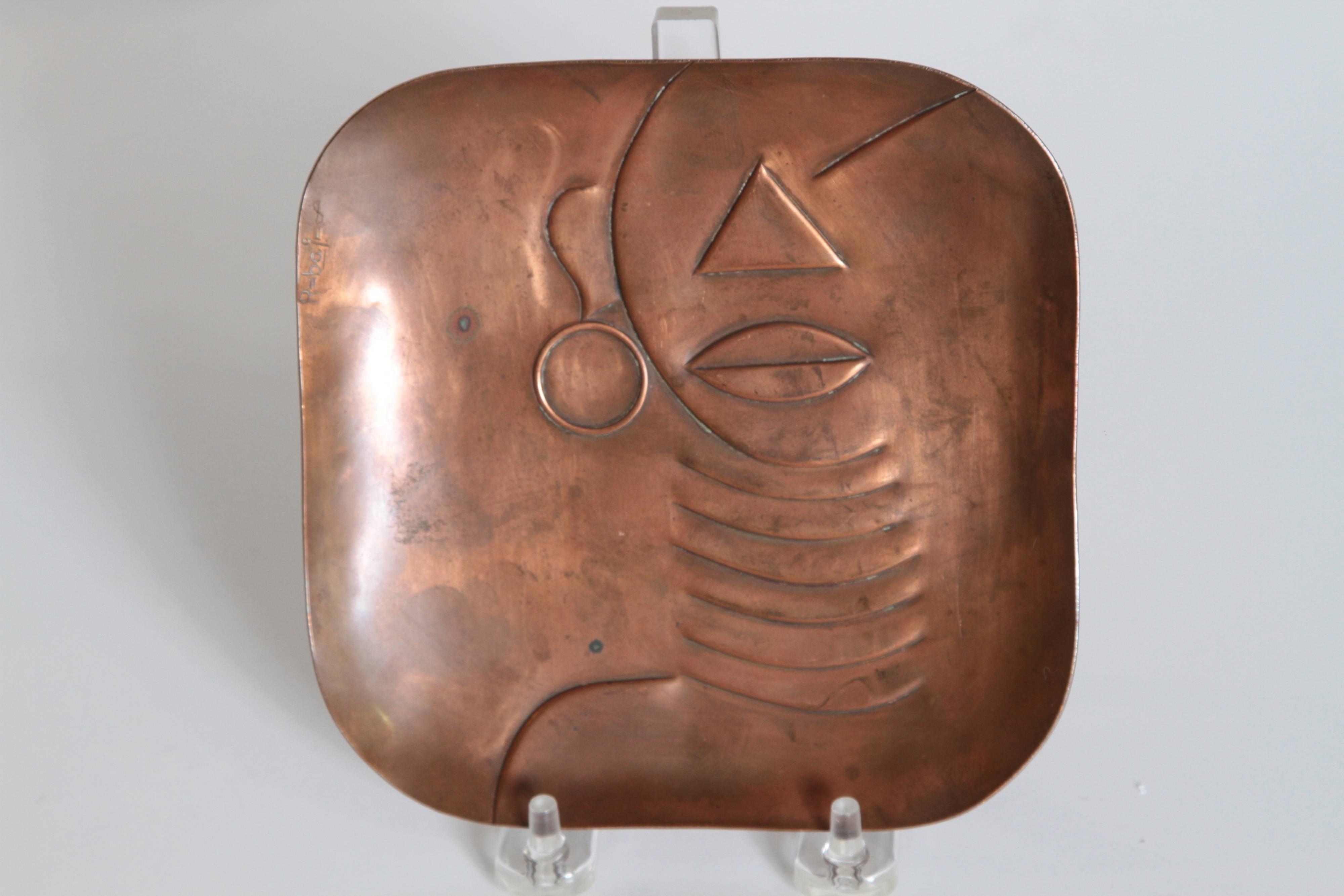 Midcentury Art Deco Original Rebajes Native Hand-Wrought Copper Tray,  Patinated