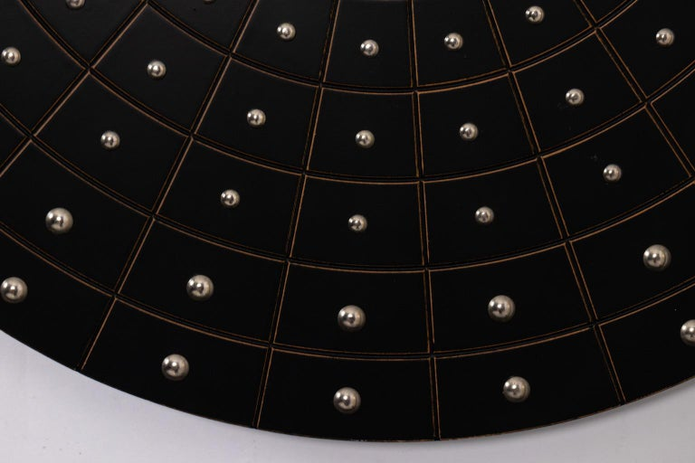 Late 20th Century Midcentury Art Deco Round Black Mirror For Sale