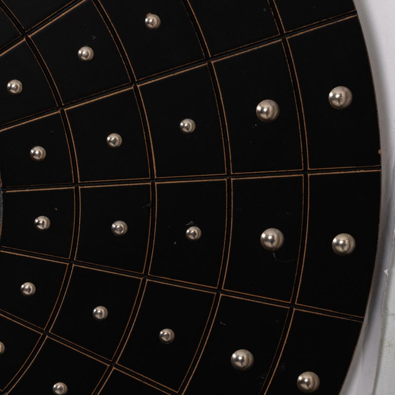 Metal Midcentury Art Deco Round Black Mirror For Sale