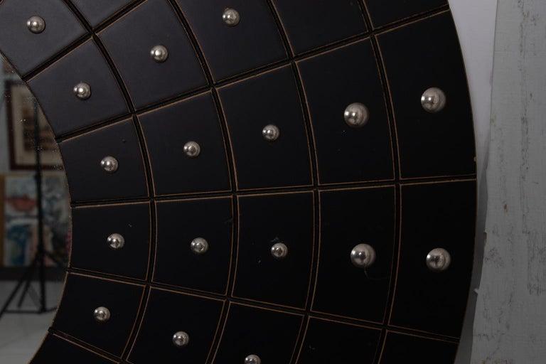 Midcentury Art Deco Round Black Mirror For Sale 1