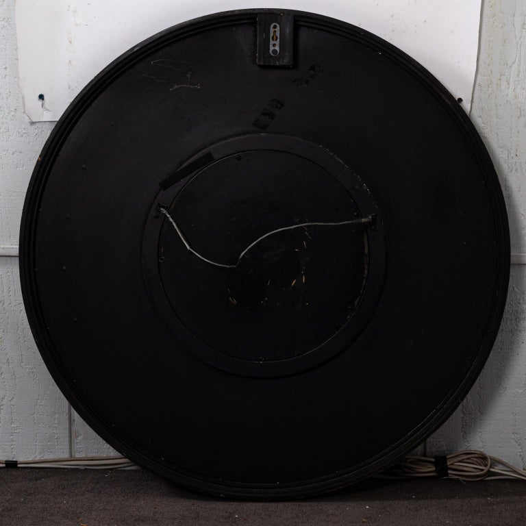 Midcentury Art Deco Round Black Mirror For Sale 2