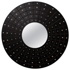 Midcentury Art Deco Round Black Mirror