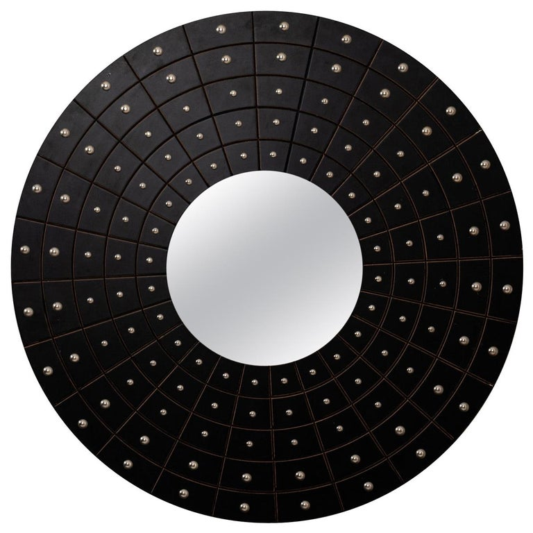 Midcentury Art Deco Round Black Mirror For Sale