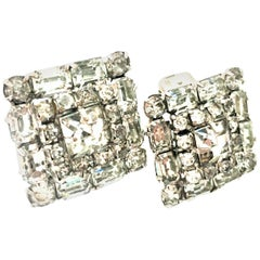 Mid Century Art Deco Silver & Austrian Crystal Rhinestone Earrings