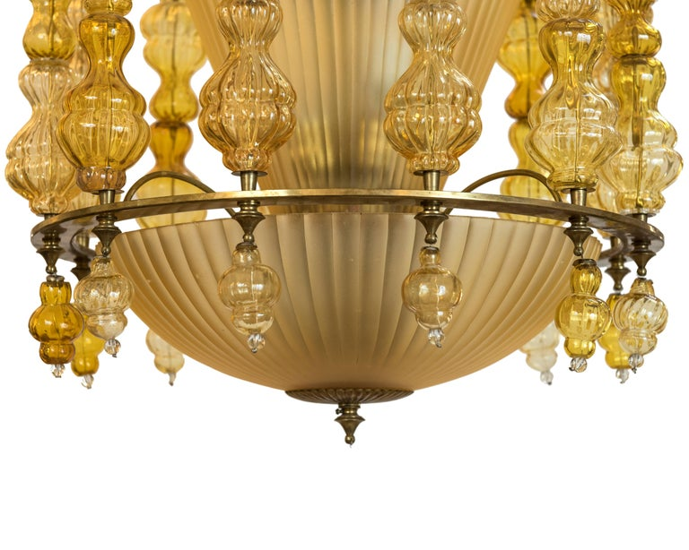 Italian Midcentury Art Deco Style Murano Pendant Light, Italy, circa 1950 For Sale