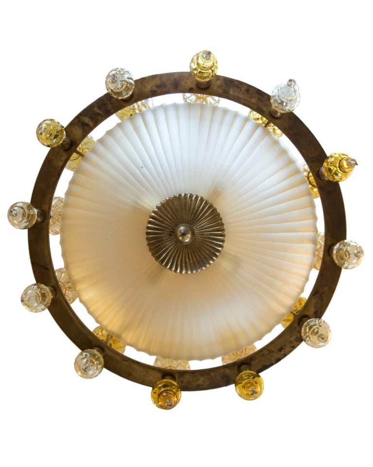 Hand-Crafted Midcentury Art Deco Style Murano Pendant Light, Italy, circa 1950 For Sale