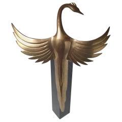 Midcentury Art Deco Styled Bird Sculpture on Black Base