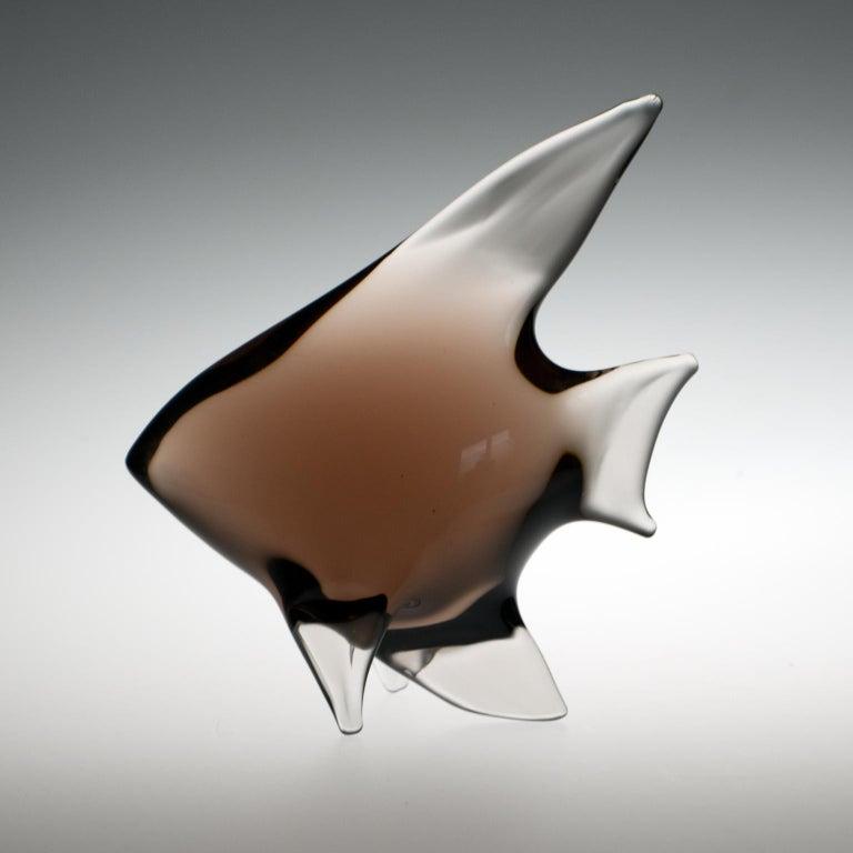 Mid-Century Modern Mid Century Art Glass Fish Sculpture by Miloslav Janku for Železný Brod, 1960s For Sale