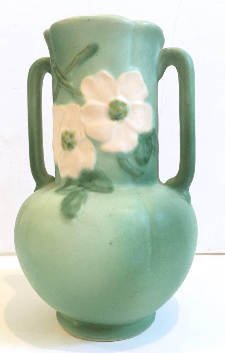 30 S Art Nouveau Hand Painted Two Handle Pottery Vase By