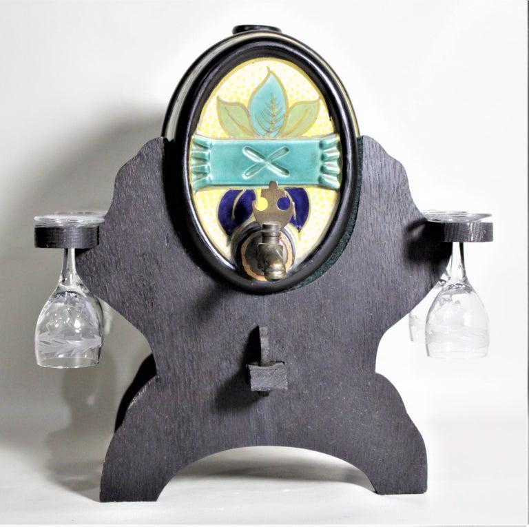 Mid-Century Modern Mid-Century Art Pottery Gouda Styled Keg & Glasses Liquor Decanter Set For Sale