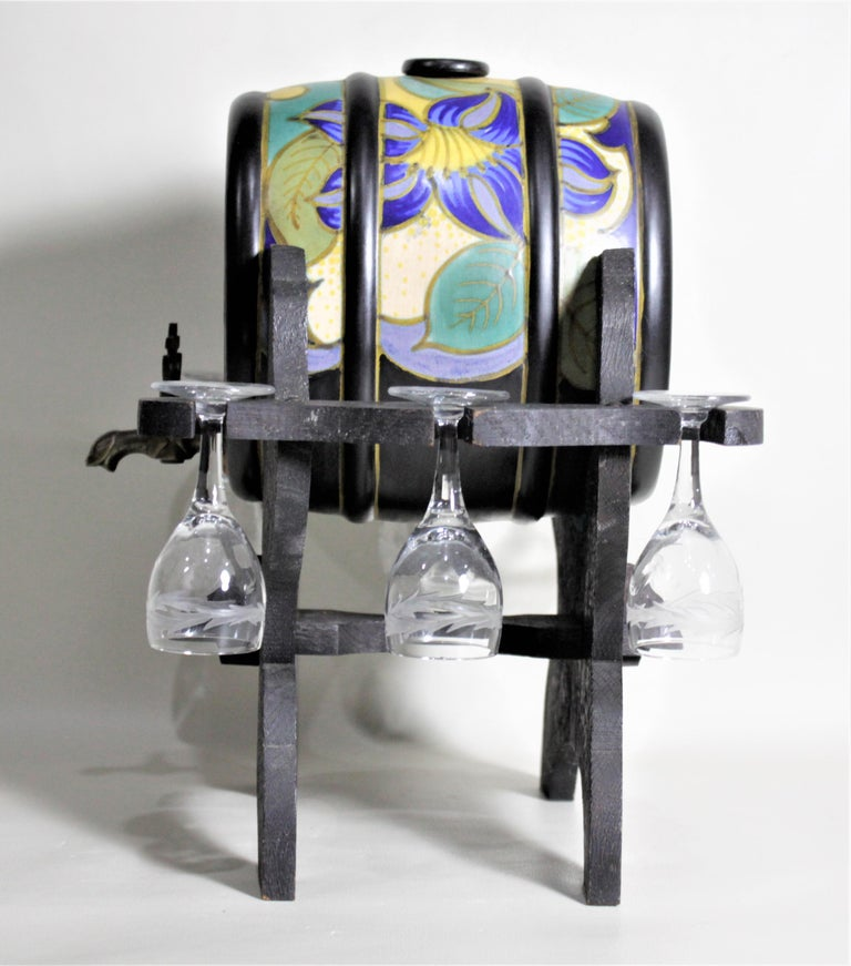Unknown Mid-Century Art Pottery Gouda Styled Keg & Glasses Liquor Decanter Set For Sale