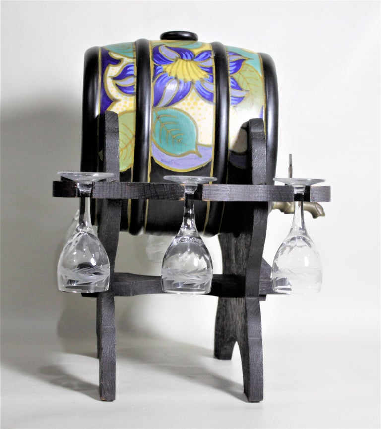 Mid-Century Art Pottery Gouda Styled Keg & Glasses Liquor Decanter Set In Good Condition For Sale In Hamilton, Ontario