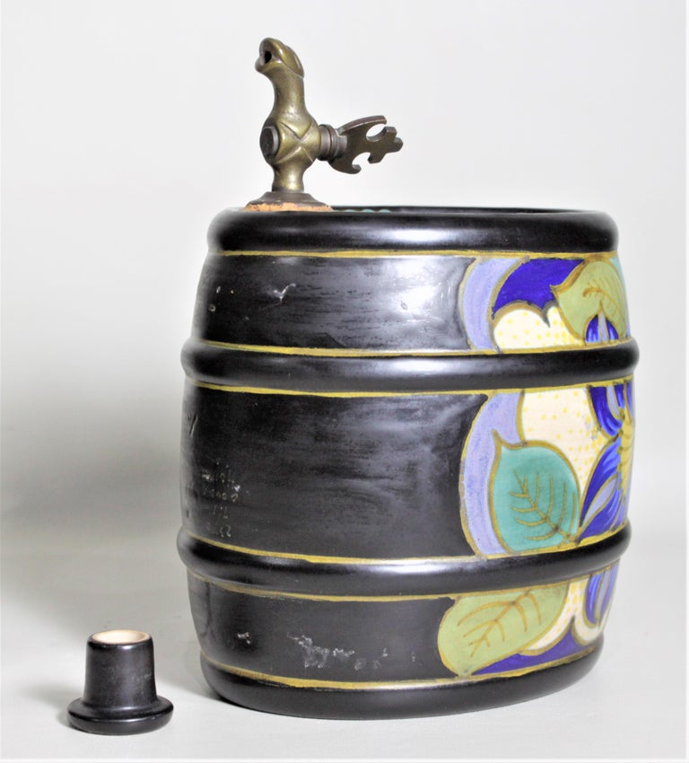20th Century Mid-Century Art Pottery Gouda Styled Keg & Glasses Liquor Decanter Set For Sale