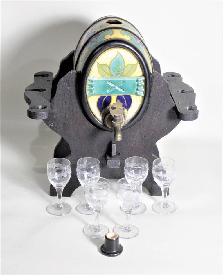 Mid-Century Art Pottery Gouda Styled Keg & Glasses Liquor Decanter Set For Sale 2
