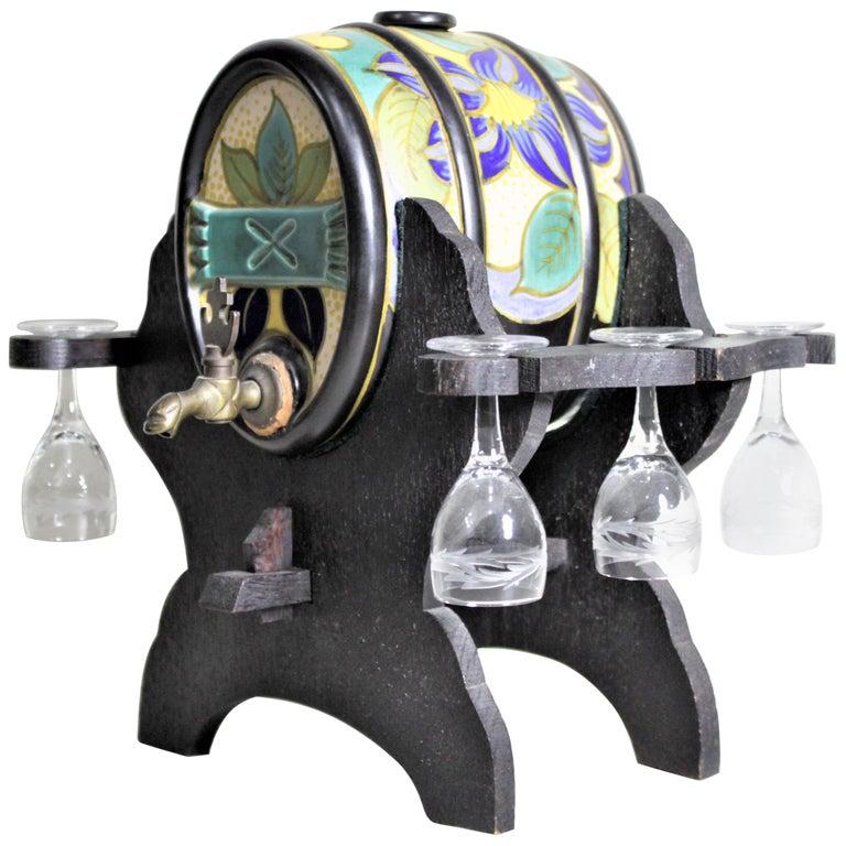 Mid-Century Art Pottery Gouda Styled Keg & Glasses Liquor Decanter Set For Sale