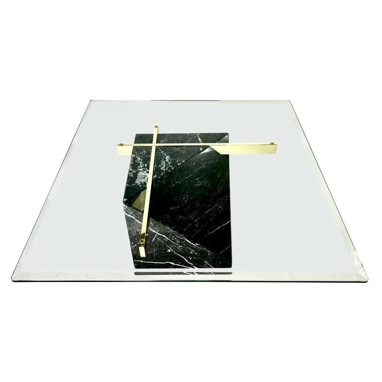 Mid-Century Artedi Black Marble Glass and Brass Coffee Table