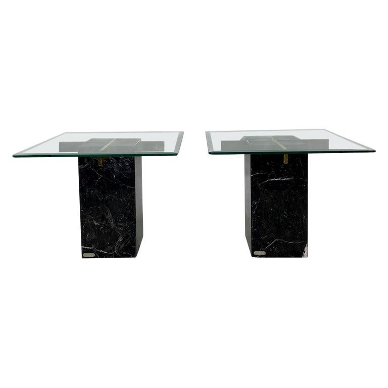 Mid-Century Artedi Black Marble Glass and Brass Side Tables, a Pair