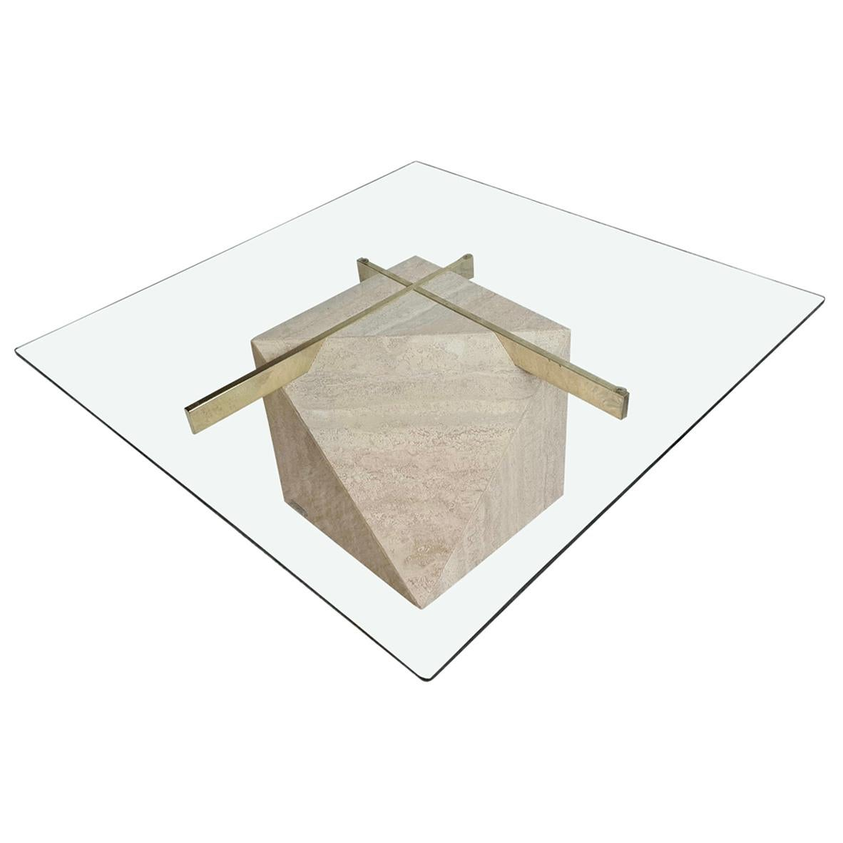 Mid Century 'Artedi' Travertine, Brass and Glass Coffee, Occasional Table, 1970s
