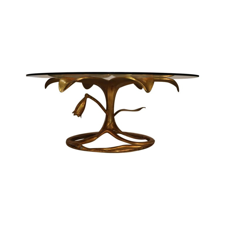 Midcentury Arthur Court Gilded Lily Coffee Table In Good Condition For Sale In Baltimore, MD