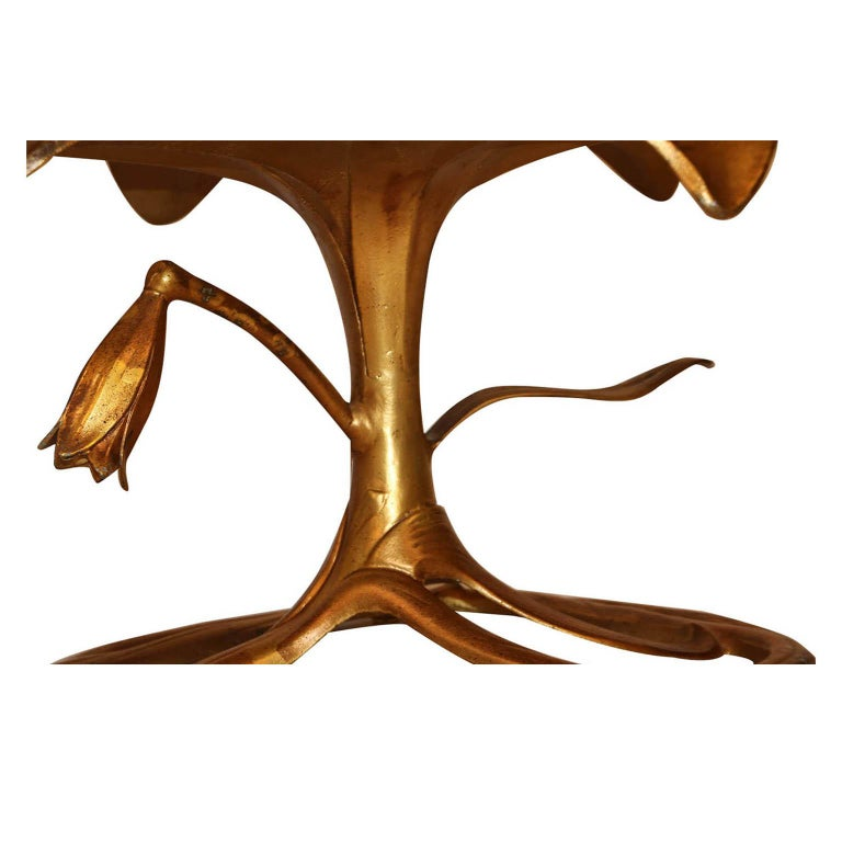 Aluminum Midcentury Arthur Court Gilded Lily Coffee Table For Sale