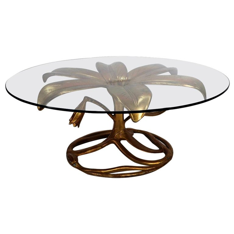 Midcentury Arthur Court Gilded Lily Coffee Table For Sale