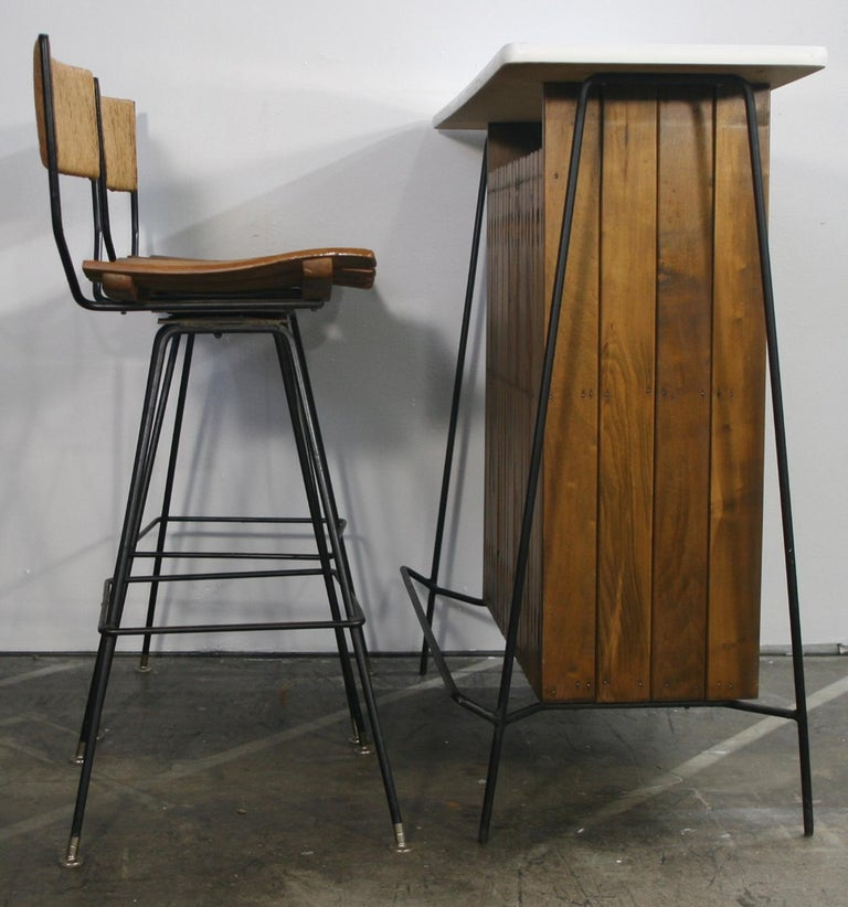 Bars Sets For Sale: Midcentury Arthur Umanoff Bar Set For Raymor With 2 Stools