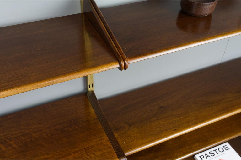 Midcentury Ash and Brass Modular Wall Unit by A.Patijn for Fristho, Dutch 1950s For Sale 5